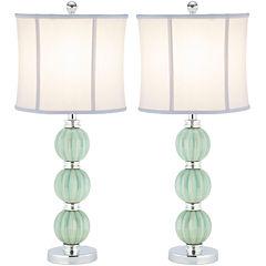 Safavieh Leyla Set of 2 Green Globe Lamp
