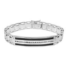 Mens 1/2 CT. T.W. Diamond & Onyx 10K White Gold Link Bracelet