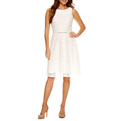 Danny & Nicole Sleeveless Lace Fit & Flare Dress-Petites