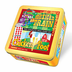 Puremco Mexican Train & Chickenfoot Dominoes - Complete Dual Game Set in a Tin