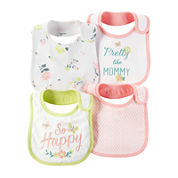 Carter's® 4-pk. Pink & Yellow Floral Bibs - Baby Girls newborn-24m