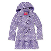 Pink Platinum Dot Print Hooded Trench Coat - Girls 7-16
