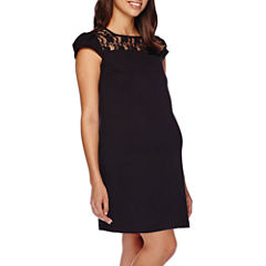 Maternity Cap-Sleeve Crochet-Yoke Dress-Plus
