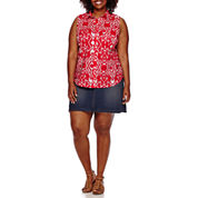 St. John's Bay® Sleeveless Button-Front Top or Denim Skort