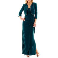 R&M Richards 3/4-Sleeve Rhinestone Bolero Jacket Long Dress