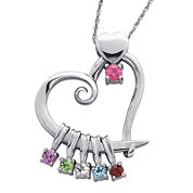 Personalized Mom Birthstone Sterling Silver Heart Slider Pendant Necklace