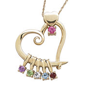 Personalized Mom Birthstone Heart 14K Yellow Gold Over Silver Slider Pendant Necklace