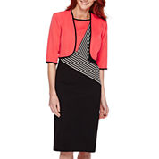 Maya Brooke 3/4-Sleeve Color Block Jacket Dress