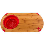 Fiesta® Bamboo Cutting Board with Silicone Colander