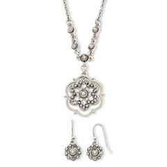 Liz Claiborne® Simulated Marcasite Pendant Necklace & Drop Earring Set