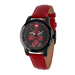 Marvel® Mens Deadpool Red Dial Leather Strap Watch