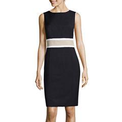 Black Label by Evan-Picone Sleeveless Colorblock Sheath Dress