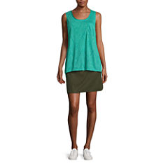 Made For Life Knit Burnout Tank Top or Solid Woven Skorts