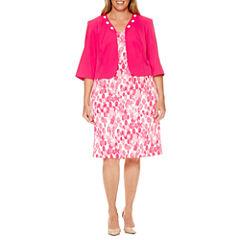 Maya Brooke 3/4 Sleeve Beaded Jacket Dress-Plus