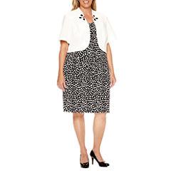 Maya Brooke Short Sleeve Beaded Jacket Dress-Plus