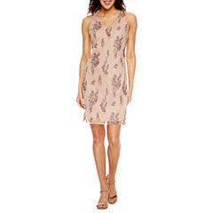 Scarlett Sleeveless Embroidered Sheath Dress