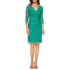 Blu Sage 3/4 Sleeve V-Neck Lace Sheath Dress - Petite