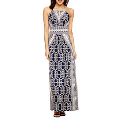 London Style Sleeveless Maxi Dress-Petites