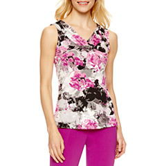 Chelsea Rose Sleeveless V Neck Jersey Blouse