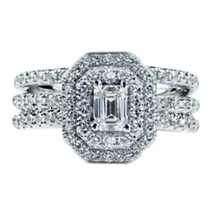 Womens 1/2 CT. T.W. Emerald White Diamond 14K Gold Engagement Ring