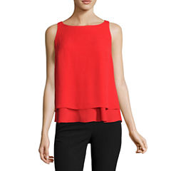 Worthington Sleeveless Scoop Neck Georgette Blouse