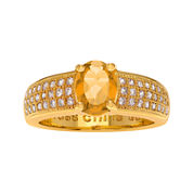 Genuine Citrine and Cubic Zirconia 14K Gold Over Brass Ring