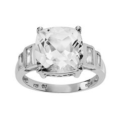 Genuine Crystal and White Topaz Sterling Silver Ring