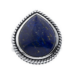 Dyed Blue Lapis Sterling Silver Teardrop Ring