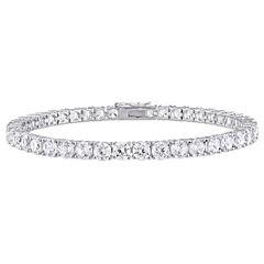 Womens White Sapphire Sterling Silver Tennis Bracelet