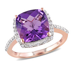 Womens 1/10 CT. T.W. Purple Amethyst 10K Gold Cocktail Ring