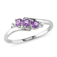 Womens Diamond Accent Purple Amethyst 10K Gold Cocktail Ring