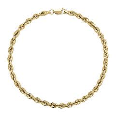 Infinite Gold™ 14K Yellow Gold Glitter Hollow Rope Chain Bracelet
