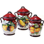 Certified International Botanical Fruit 3-pc. Earthenware Canister Set