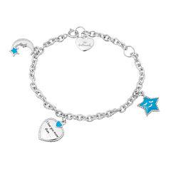 Hallmark Kids Sterling Silver Enamel Moon and Stars Charm Bracelet