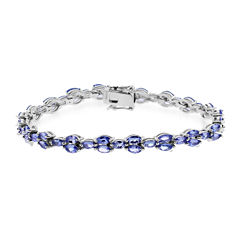 LIMITED QUANTITIES  Marquise-Shaped Genuine Tanzanite Sterling Silver Bracelet