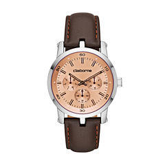 Liz Claiborne Mens Brown Strap Watch-Clm1218