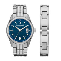 Liz Claiborne Mens Silver Tone 2-pc. Watch Boxed Set-Clm9010