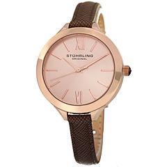 Stuhrling Womens Brown Strap Watch-Sp15388