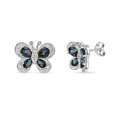 Cushion Green Mystic Fire Topaz Sterling Silver Stud Earrings