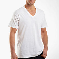 Hanes Cotton 3-pc. Short Sleeve V Neck T-Shirt