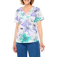 Alfred Dunner Short Sleeve V Neck T-Shirt-Womens