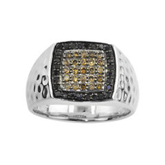Mens ¾ CT. T.W. Champagne & Color-Enhanced Black Diamond Ring