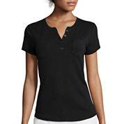 Liz Claiborne® Short-Sleeve Henley Tee - Tall