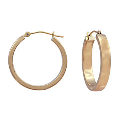 14K Yellow Gold 25mm Tube Hoop Earrings