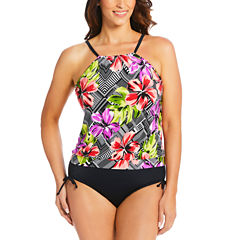 St. John's Bay High Neck Blouson Selena Swimsuit Top or Adjustable Side Brief
