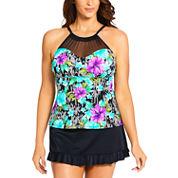 St. John's Bay Floral High Neck Swimsuit Top or Ruffle Swim Skirt