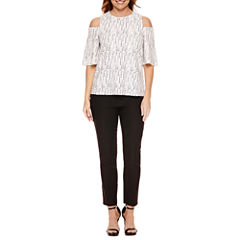Worthington Short Sleeve Split-Back T-Shirt and Fly-Front Luxe Ankle Pant