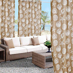 Seashells Grommet-Top Outdoor Curtain Panel