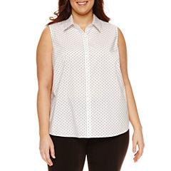 Liz Claiborne Sleeveless Button Front Blouse-Plus