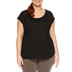 Xersion Short Sleeve Scoop Neck T-Shirt-Womens Plus